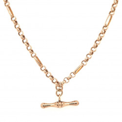 Pre Owned 9ct Rose Necklet and T Bar ZK657
