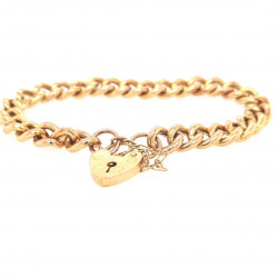 Pre Owned 9ct Hollow Link Bracelet and Padlock ZK658
