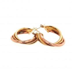 Pre Owned 9ct Two Tone Hoop Earrings ZK660