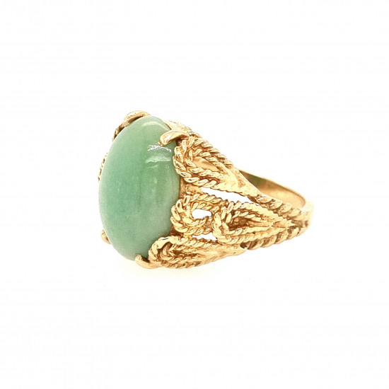 Pre Owned 14ct Jade Ring ZL158