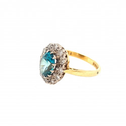 Pre Owned 18ct Blue Topaz and Diamond Cluster Ring ZL159