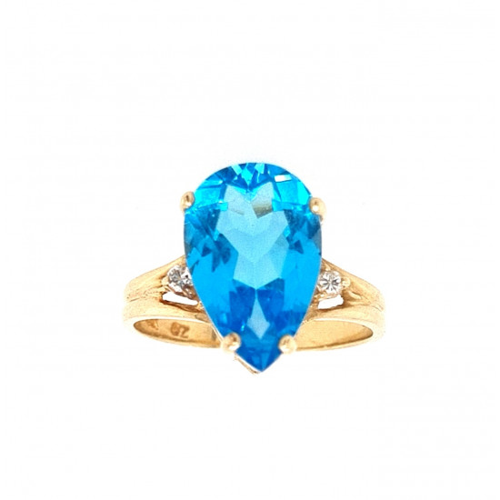 Pre Owned 14ct Blue Topaz and Diamond Ring ZL160