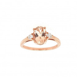Pre Owned 9ct Rose Quartz and Diamond Ring ZL17