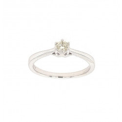 Pre Owned 9ct White Gold Diamond Solitaire Ring ZL18