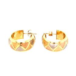 Pre Owned 9ct 3 Tone Half Hoop Earrings ZL283