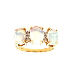 Pre Owned 14ct Opal Style and Diamond Ring ZL319