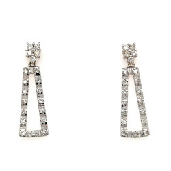 Pre Owned 18ct White Gold Diamond Drop Earrings ZL380