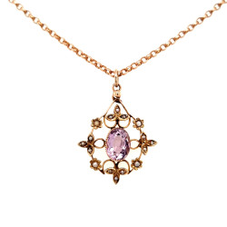 Pre Owned 9ct Amethyst and Seed pearl Pendant and Chain ZL384