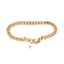 Pre Owned 9ct Rose Bracelet and Padlock ZL417