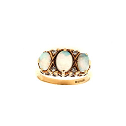 Pre Owned 9ct Opal and Diamond Ring ZL418
