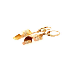 Pre Owned 9ct Three Tone Drop Earrings ZL437