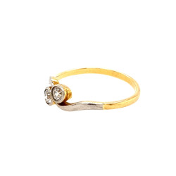 Pre Owned 18ct Two Stone Diamond Twist Ring ZL457