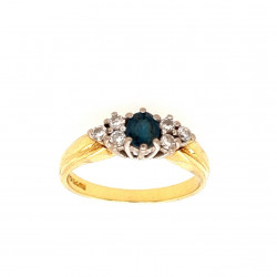 Pre Owned 18ct Blue Topaz and Diamond Ring ZL61
